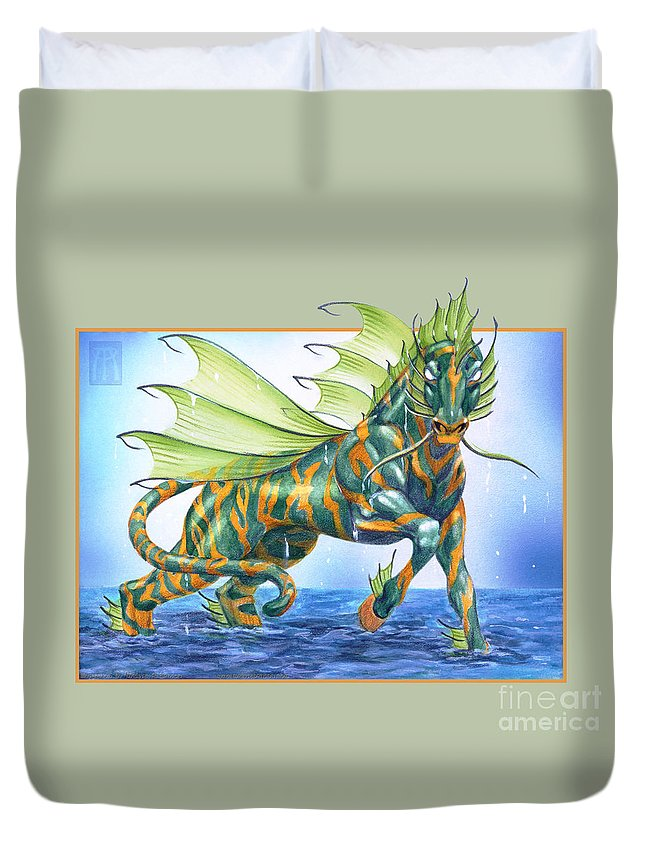 Fantasy Duvet Cover featuring the digital art Phantasmal Mount by Melissa A Benson