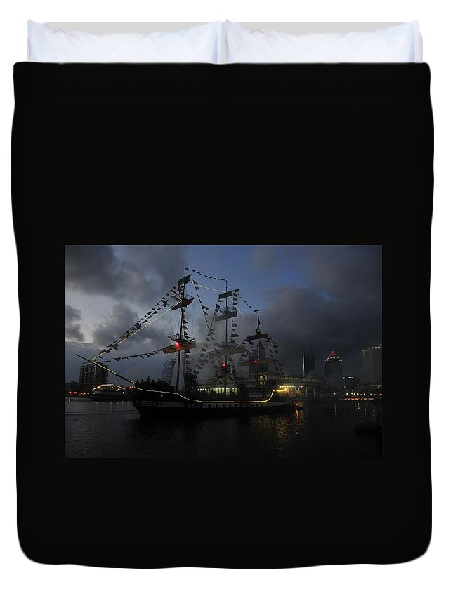 Pirate Festival Duvet Cover featuring the photograph Phantom Ship by David Lee Thompson