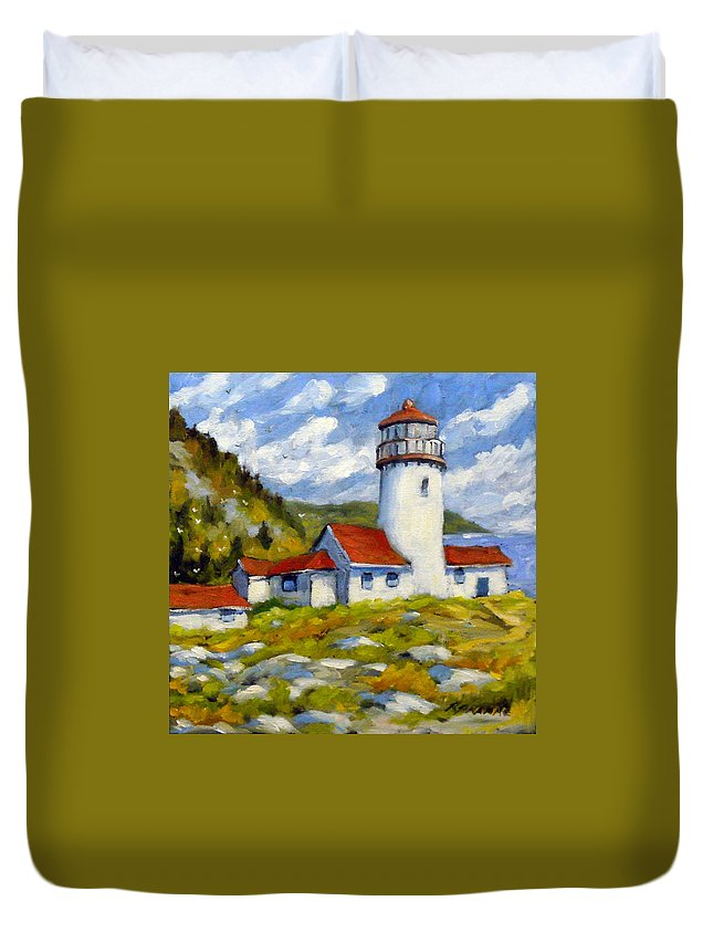 Fishing Boats Duvet Cover featuring the painting Phare 004 by Richard T Pranke