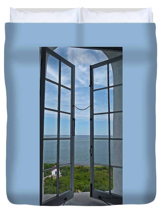 Lighthouse Duvet Cover featuring the photograph Phare Fenetre Lighthouse Window by Cindy Rose