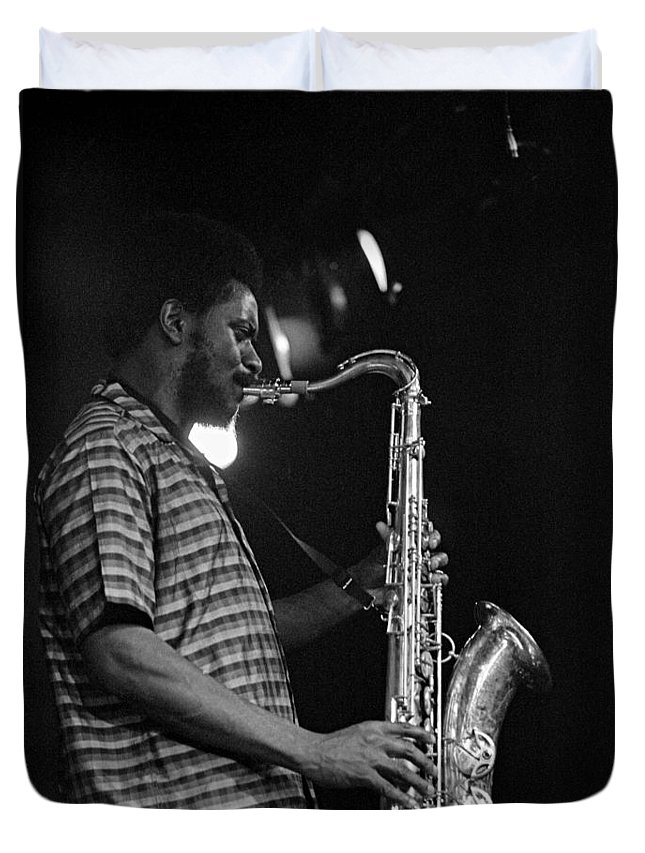 Pharoah Sanders Duvet Cover featuring the photograph Pharoah Sanders 2 by Lee Santa