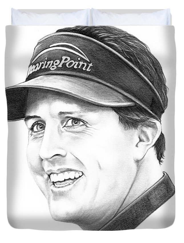 Portrait Duvet Cover featuring the drawing Phil Mickelson by Murphy Elliott