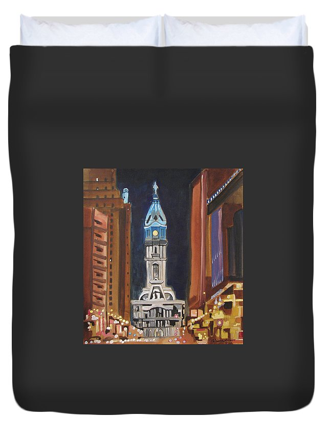 Landmarks Duvet Cover featuring the painting Philadelphia City Hall by Patricia Arroyo