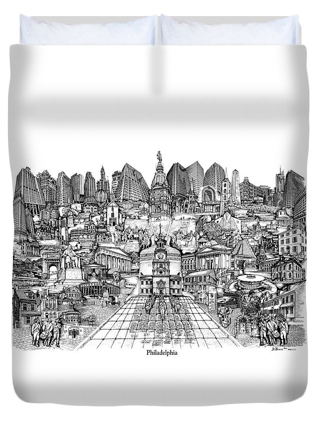 City Drawing Duvet Cover featuring the drawing Philadelphia by Dennis Bivens