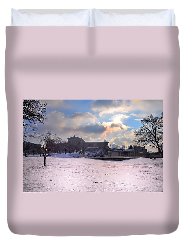 Philadelphia Duvet Cover featuring the photograph Philadelphia Museum Of Art At Winter Sunrise by Bill Cannon