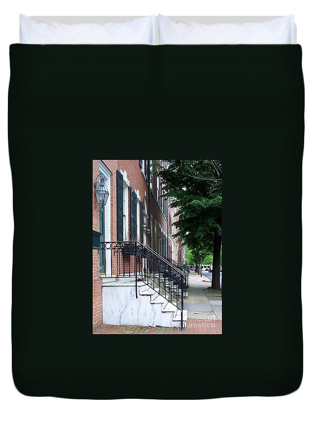 Architecture Duvet Cover featuring the photograph Philadelphia Neighborhood by Debbi Granruth