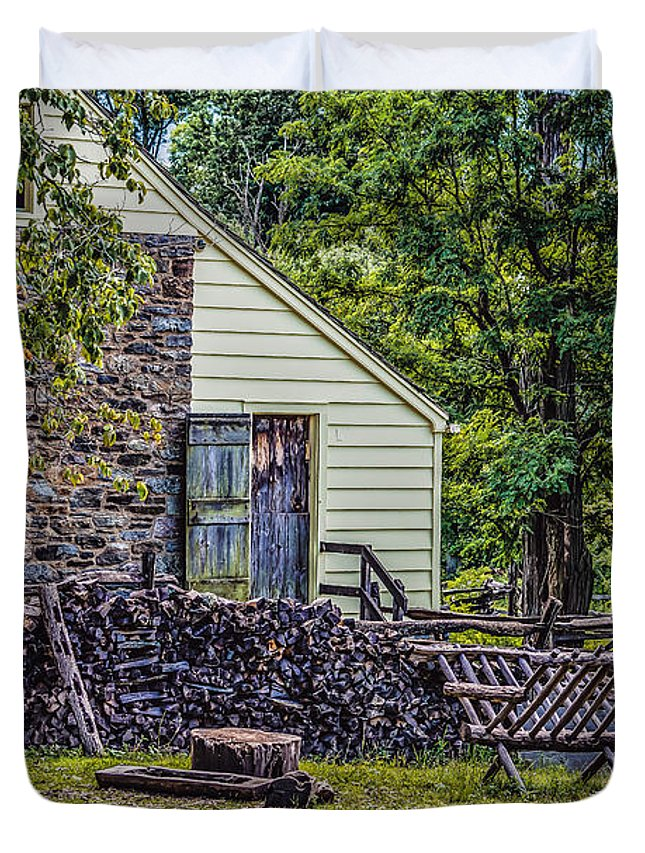 Black Brook Duvet Cover featuring the photograph Philipsburg Manor - Firewood by Black Brook Photography