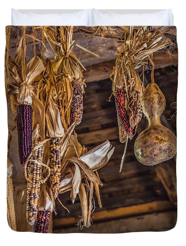 Black Brook Duvet Cover featuring the photograph Philipsburg Manor - Gourds And Flint Corn by Black Brook Photography