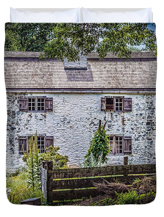 Black Brook Duvet Cover featuring the photograph Philipsburg Manor House - Thru The Woods by Black Brook Photography