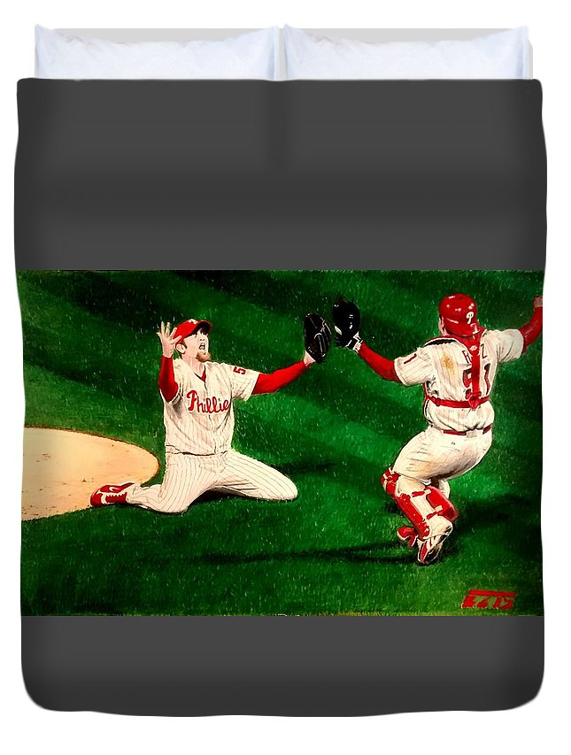 Phillies Duvet Cover featuring the drawing Phillies Win The World Series by Ezra Strayer