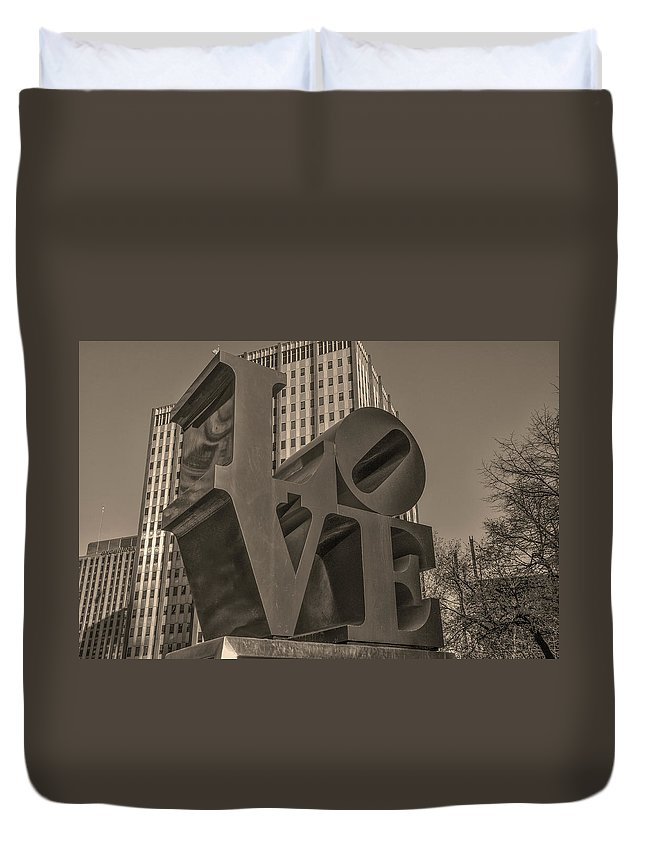 Philly Duvet Cover featuring the photograph Philly Esque - Love Statue In Sepia by Bill Cannon