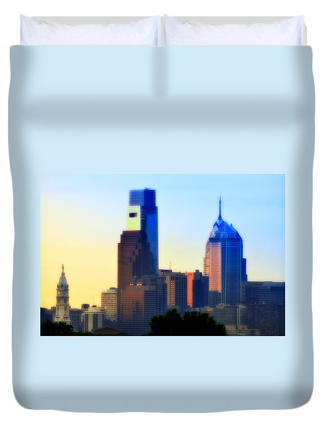 Philadelphia Duvet Cover featuring the photograph Philly Morning by Bill Cannon