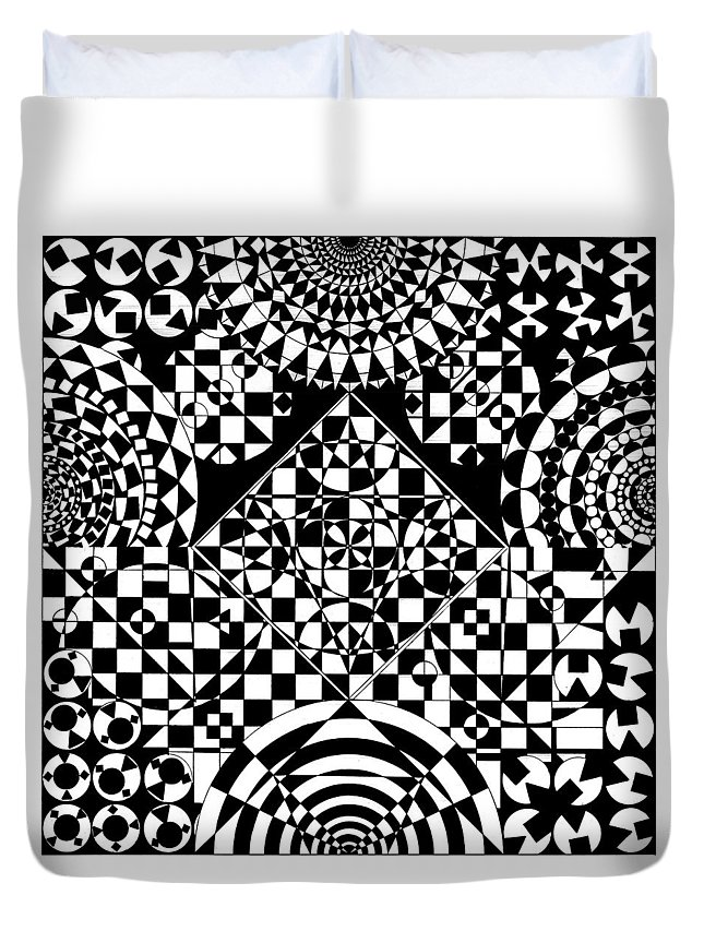 Philosopher Kaleidoscope Stone Square Circle Triangle Design Shapes Primitives 2d Pattern Math Duvet Cover featuring the drawing Philosophers Kaleidoscope by Priscilla Vogelbacher