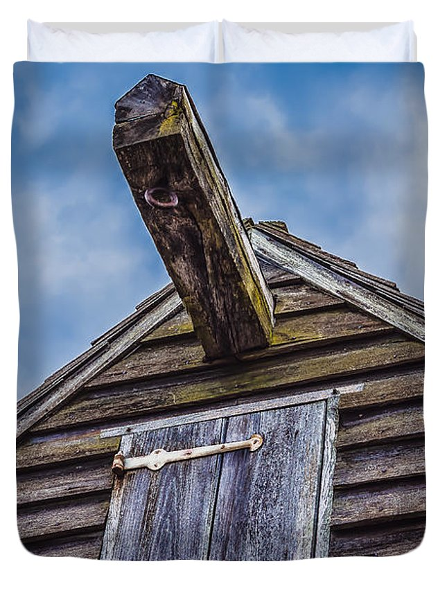 Black Brook Duvet Cover featuring the photograph Philpsburg Manor - Gristmill Hoist Beam by Black Brook Photography