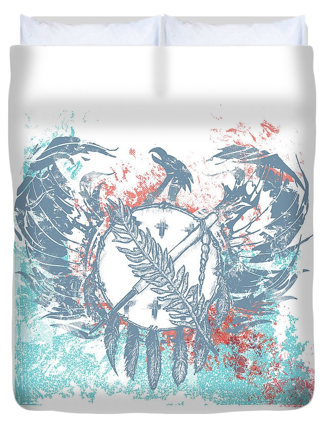 Chadlonius Duvet Cover featuring the drawing Phoenix by Chad Lonius