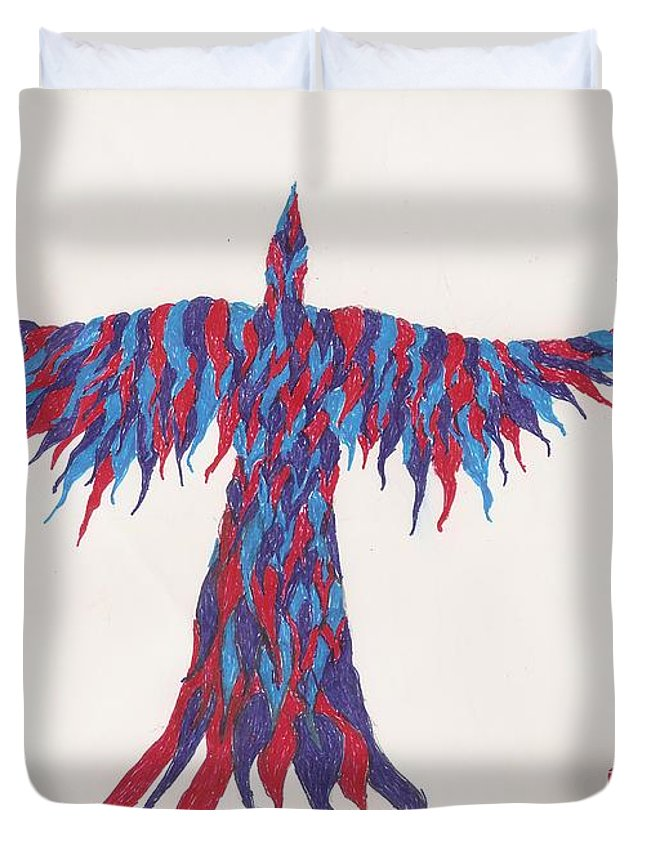 Bird Duvet Cover featuring the drawing Phoenix Flying by White Rabbit