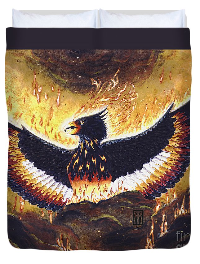 Phoenix Duvet Cover featuring the painting Phoenix Rising by Melissa A Benson