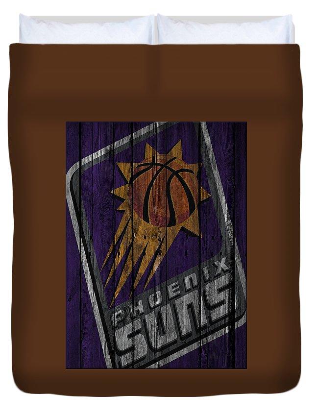 Suns Duvet Cover featuring the photograph Phoenix Suns Wood Fence by Joe Hamilton