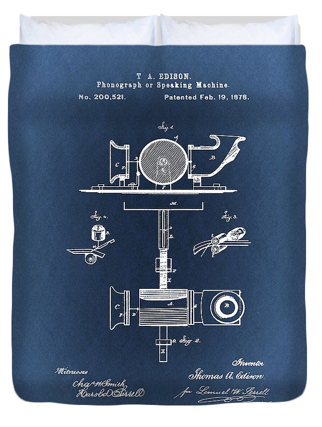 Thomas Edison Duvet Cover featuring the drawing Phonograph Patent From 1878 Blueprint by Art Spectrum