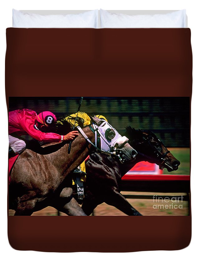 Horse Duvet Cover featuring the photograph Photo Finish by Kathy McClure