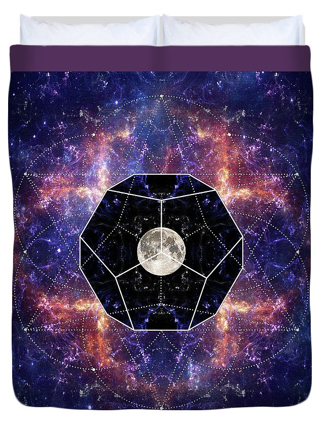 Moon Duvet Cover featuring the digital art Photo Of The Moon And Sacred Geometry by Sergey Nosov