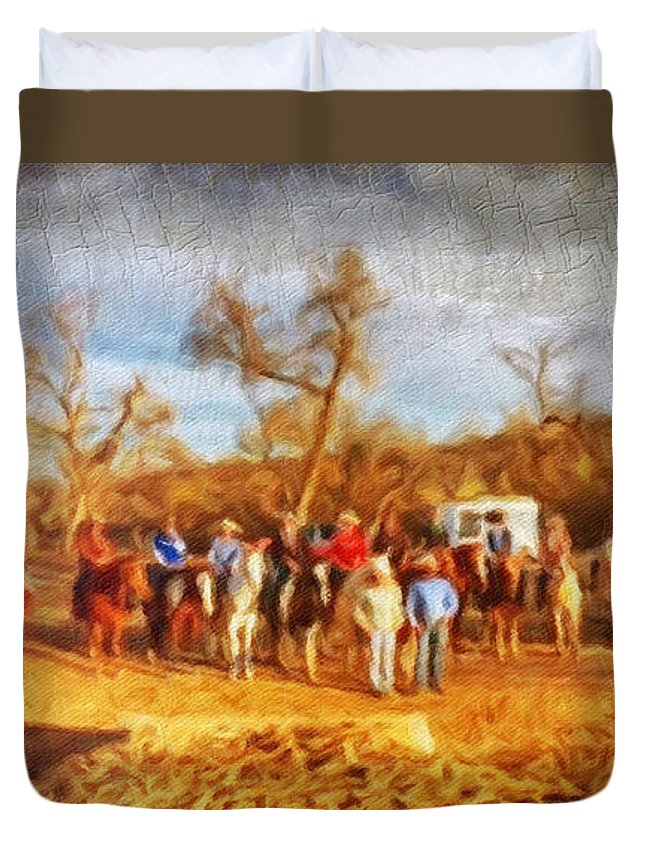 Western Duvet Cover featuring the digital art Happy Trails by Linda Weinstock