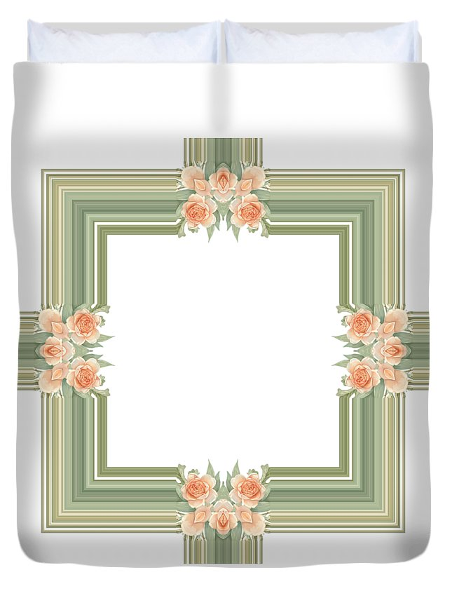 Becky Hayes Duvet Cover featuring the digital art Photoart Orange Flowers-1 by Becky Hayes