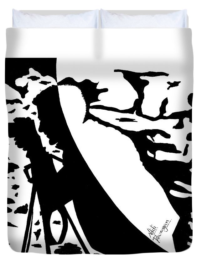 Photographer Duvet Cover featuring the painting Photographer In Monochrome by Aditi Dewangan