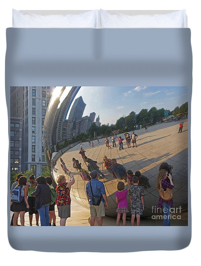 Chicago Duvet Cover featuring the photograph Photographers All by Ann Horn