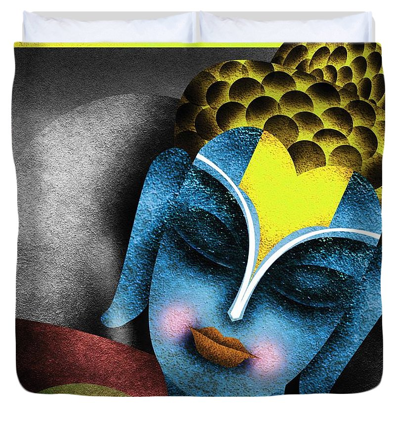 Abstrat Paintings Buddha Duvet Cover featuring the digital art Photoshop Painting by Sandip Ghodke
