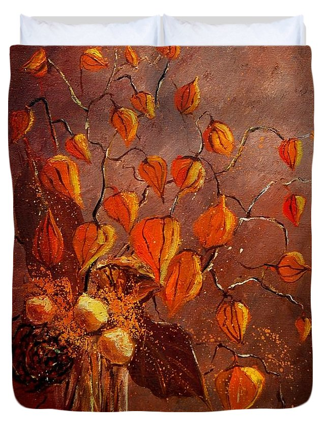 Poppies Duvet Cover featuring the painting Physialis by Pol Ledent