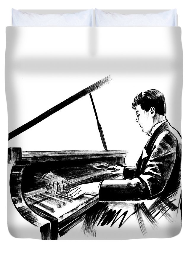 Musician Duvet Cover featuring the drawing Pianist by Irina Ivanova