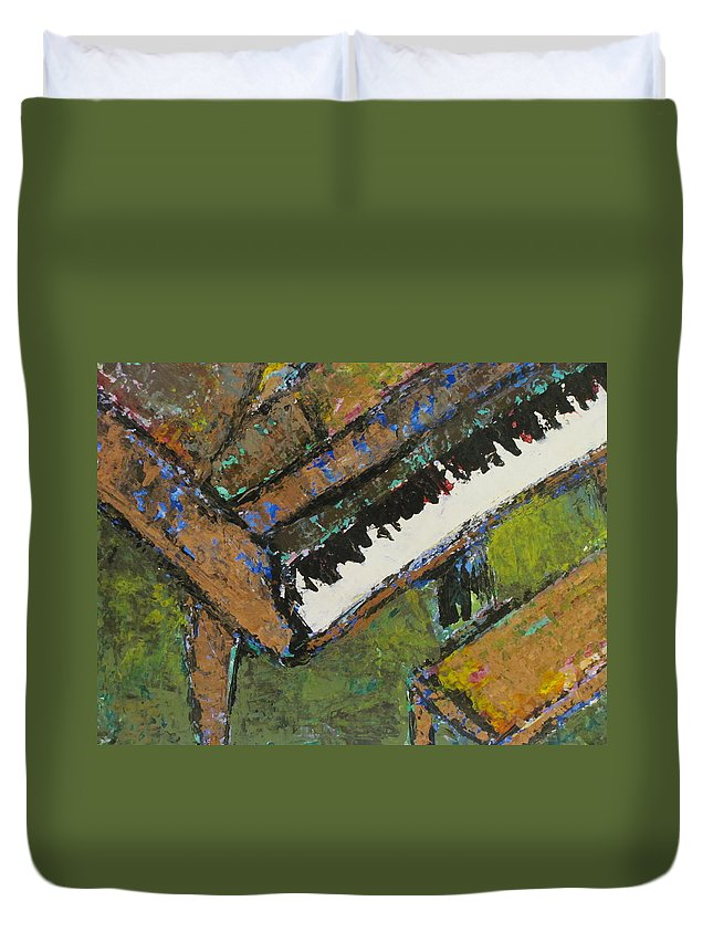 Piano Duvet Cover featuring the painting Piano Close Up 1 by Anita Burgermeister