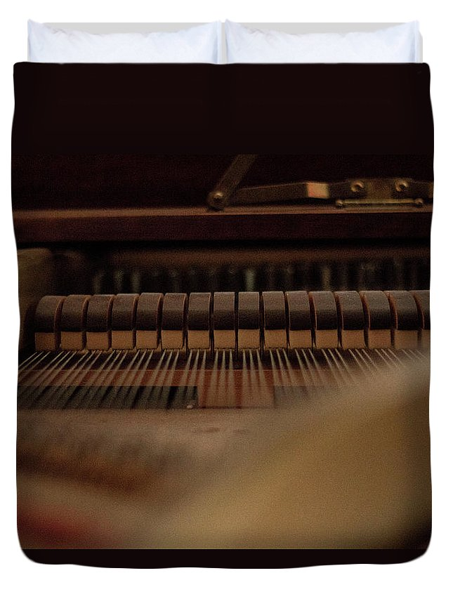 Piano Duvet Cover featuring the photograph Piano Guts by Samantha Fuller