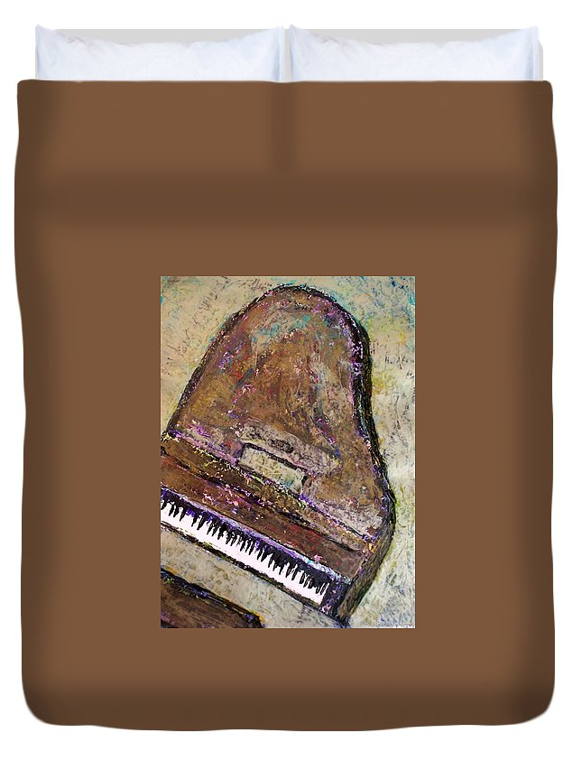 Piano Duvet Cover featuring the painting Piano In Bronze by Anita Burgermeister