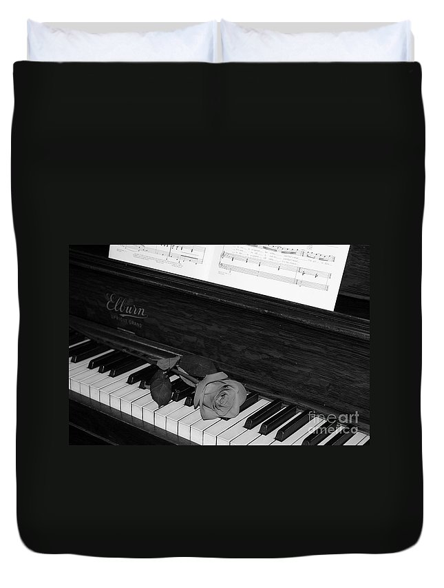 Black And White Duvet Cover featuring the photograph Piano Rose by Crystal Nederman