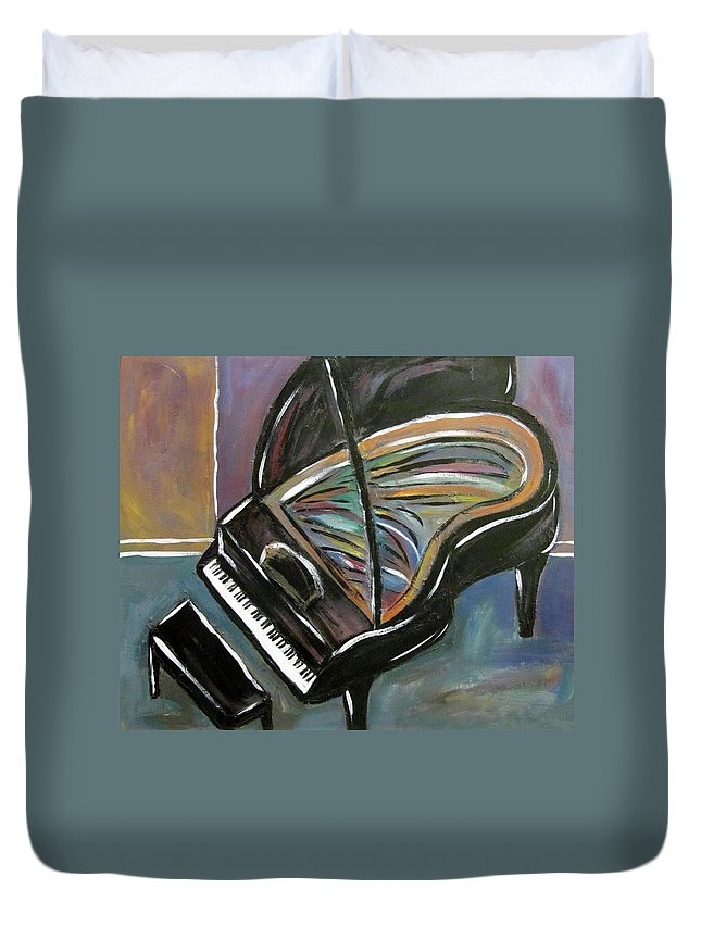 Impressionist Duvet Cover featuring the painting Piano With High Heel by Anita Burgermeister