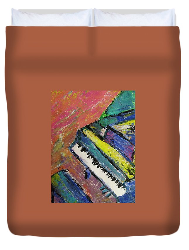 Music Duvet Cover featuring the painting Piano With Yellow by Anita Burgermeister