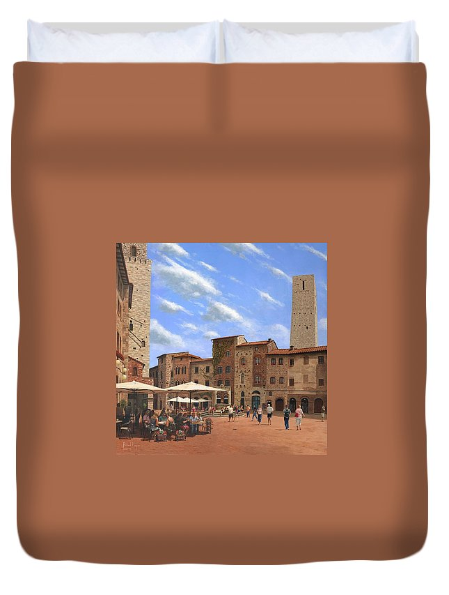 Landscape Duvet Cover featuring the painting Piazza Della Cisterna San Gimignano Tuscany by Richard Harpum