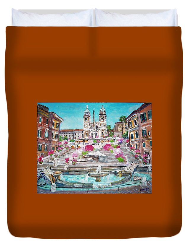 Spanish Duvet Cover featuring the painting Piazza Di Spagna by Teresa Dominici