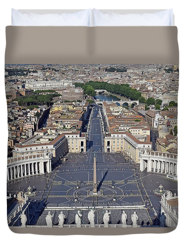 Aerial Duvet Cover featuring the photograph Piazza San Pietro And Colonnaded Square As Seen From The Dome Of Saint Peter's Basilica - Rome, Ital by Mihaela Nica