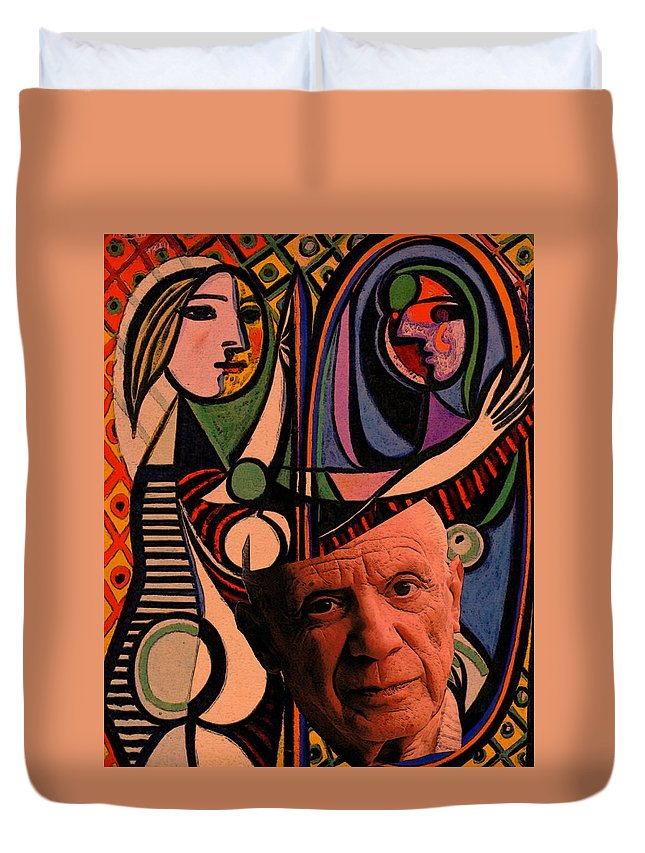 Art Duvet Cover featuring the digital art Picaso Study In Orange by Tristan Armstrong
