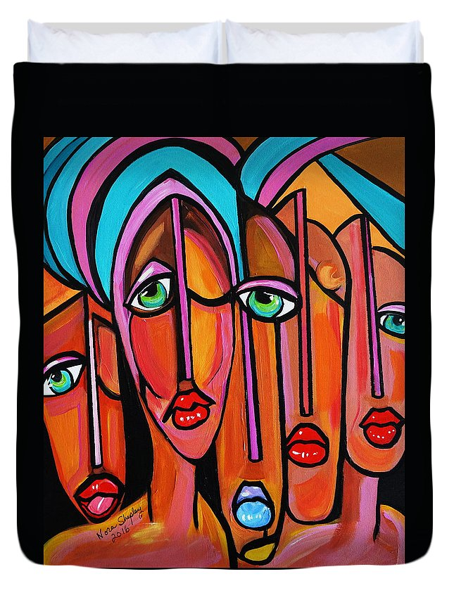Picasso By Nora Four Eyes Duvet Cover featuring the painting Picasso By Nora Four Eyes by Nora Shepley