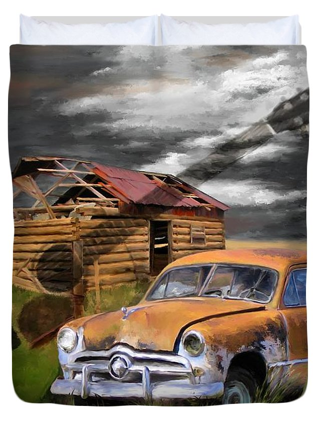 Digital Painting Duvet Cover featuring the painting Pickin Out Yesterday by Susan Kinney