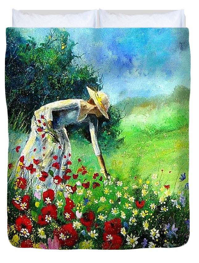 Poppies Duvet Cover featuring the painting Picking Flower by Pol Ledent