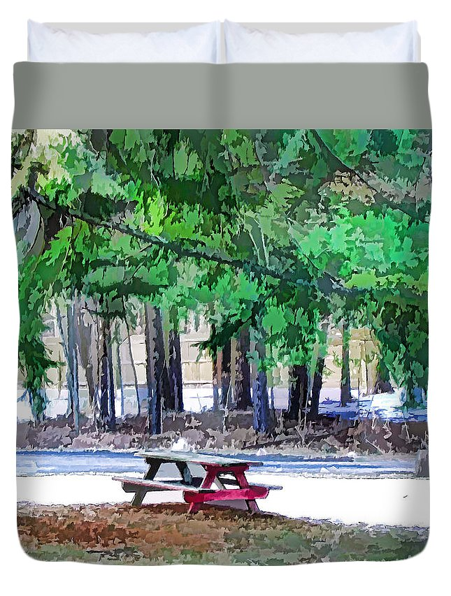 Picnic Area With Wooden Tables Duvet Cover featuring the painting Picnic Area With Wooden Tables 3 by Jeelan Clark