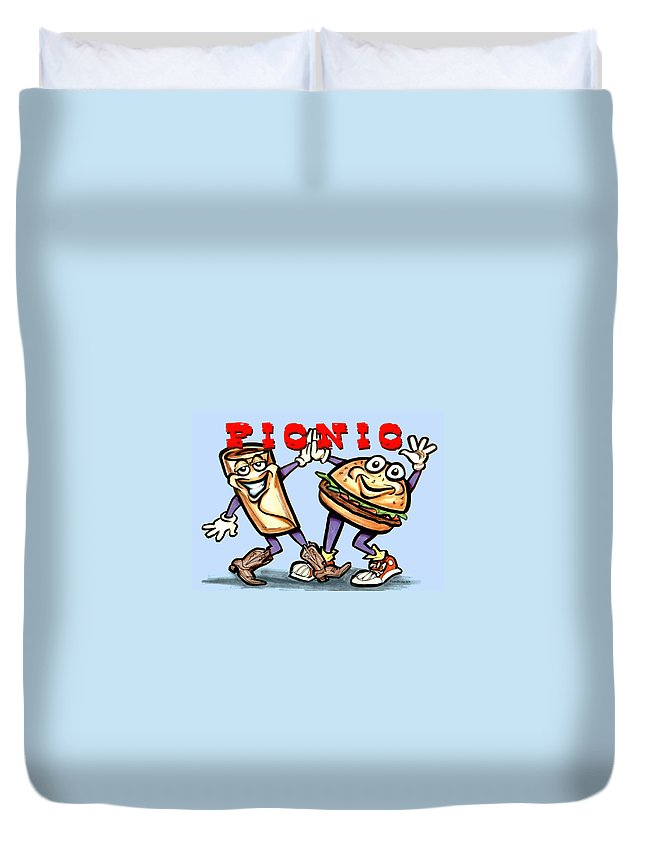 Picnic Duvet Cover featuring the greeting card Picnic by Kevin Middleton