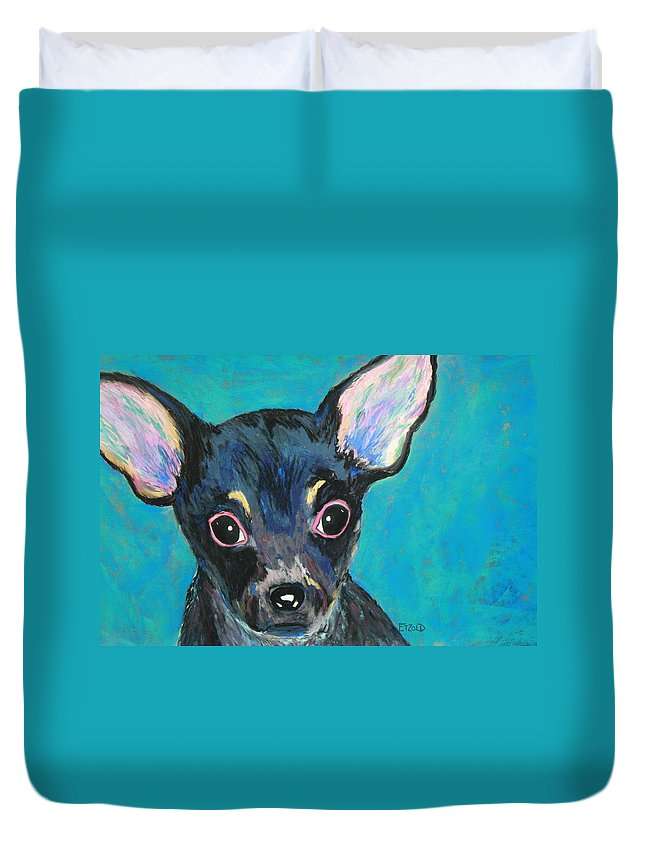 Dog Duvet Cover featuring the painting Pico by Melinda Etzold