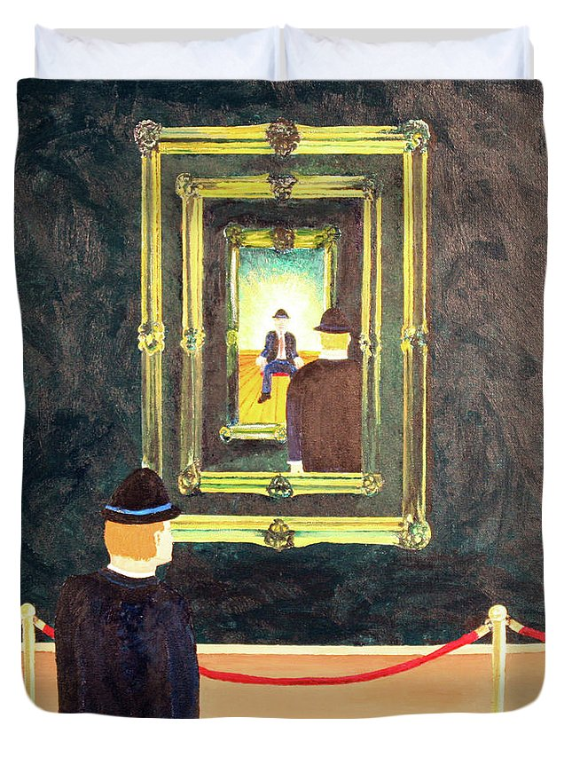 Surrealism Duvet Cover featuring the painting Pictures At An Exhibition by Thomas Blood