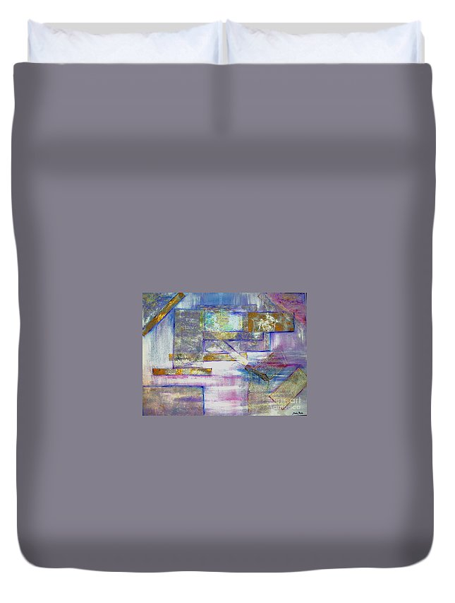 Collage Duvet Cover featuring the painting Pieces Of April by Sandy Ryan